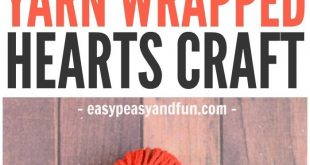 Yarn Wrapped Hearts Craft - Valentines Day Crafts