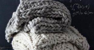 DIY Knit Kit - Nantucket Throw 36'' x 70'' (91cm x 177cm) - Super Chunky Merino Wool