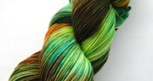 Hand dyed yarn, hand painted yarn, handpainted yarn, superwash merino wool yarn, sock yarn, kettle dyed yarn, fingering, orange green yellow