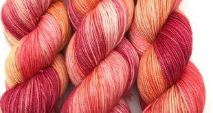 "Hand Dyed Yarn Pink Fuchsia Yellow Orange Red Merino Cashmere Nylon Superwash Fingering Sock 380yds 115g ""Blood Orange Glow"""
