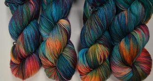 hand dyed yarn | fingering weight yarn | Superwash | multi colored | fingering yarn | Sock Yarn | Blue Yarn | Red Yarn | Yellow | Paradise