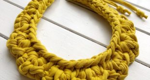 Fabric Bib Necklace | Juicy Yellow MUSTARD Statement Necklace | Zpagetti Fabric | Crochet Collar | Bib Necklace | Chunky Yarn | T-Shirt Yarn