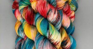 Hand Dyed Yarn Superwash Merino wool Nylon Gold Stellina Red Blue Yellow Fingeri...