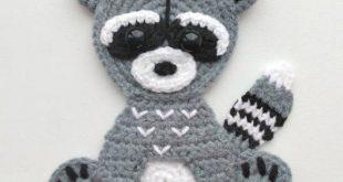 PATTERN Woodland Animal Applique Crochet Patterns PDF Rabbit Bear Raccoon Fox Crochet Appliques Forest Animals Motif Ornament for Baby ENG