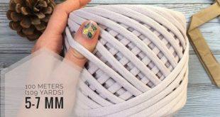 Cotton fabric yarn T-shirt yarn beige for crochet baskets 5-7 mm 109 yards Zpagetti chunky yarn crochet yarn for pillows tshirt spaghetti