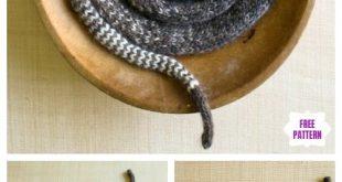 Easy Knit Striped Stockinette Snake Free Knitting Pattern