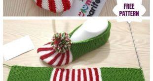 Einfach stricken Weihnachten Hausschuhe Free Knitting Pattern
