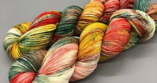 Hand Dyed Yarn, Superwash Merino wool, Green, Yellow, Orange, Fingering Weight, Sport, DK, Worsted Weight - Pineapple Express