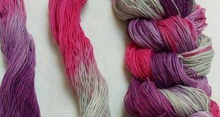 Purple cotton candy grey hand dyed weaving warp pre messured warp hand painted c...