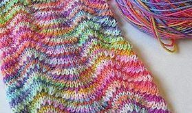 Stricken Chevron Scarf: Two distinctly different hand dyed yarns alternated